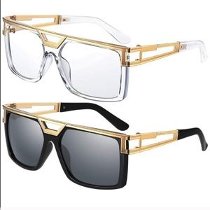 CLEAR & GOLD RETRO LOOK GAZELLE GLASSES